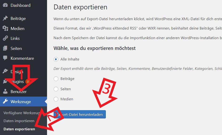 Inhalte von einem WordPress Blog exportieren